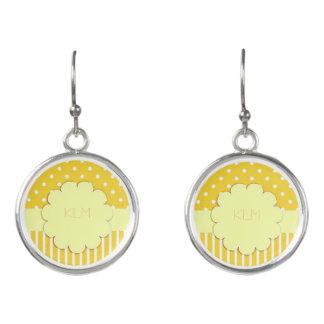 Monogram Yellow Polka Dot Striped Earrings