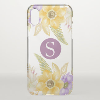 Monogram Yellow Purple Floral Personalized iPhone X Case