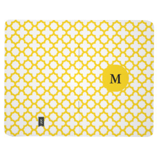 Monogram Yellow Quatrefoil Pattern Journal
