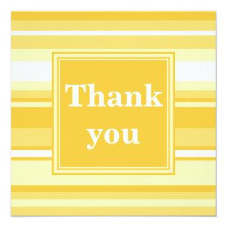 Monogram yellow stripes 13 cm x 13 cm square invitation card
