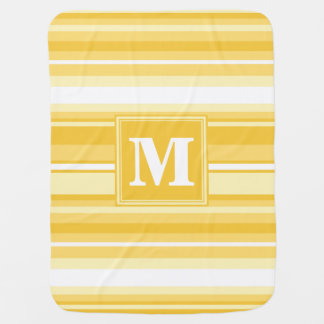 Monogram yellow stripes baby blanket