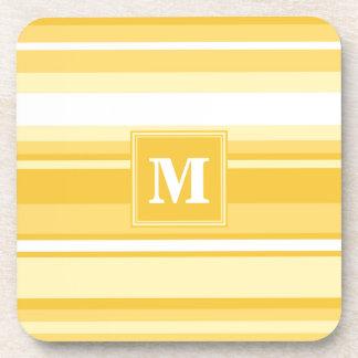 Monogram yellow stripes beverage coaster