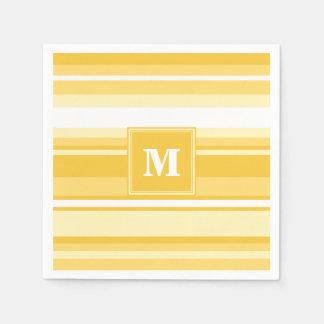 Monogram yellow stripes paper napkin