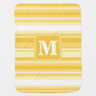 Monogram yellow stripes receiving blanket