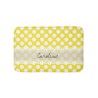 Monogram Yellow White Trendy Fun Polka Dot Pattern Bath Mat