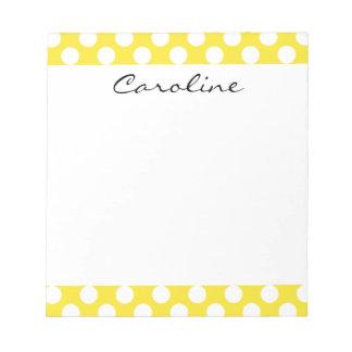 Monogram Yellow White Trendy Fun Polka Dot Pattern Notepad