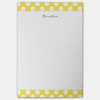 Monogram Yellow White Trendy Fun Polka Dot Pattern Post-it Notes