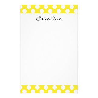 Monogram Yellow White Trendy Fun Polka Dot Pattern Stationery