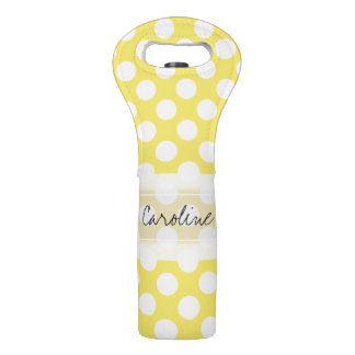 Monogram Yellow White Trendy Fun Polka Dot Pattern Wine Bag