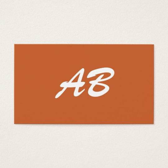 Monogram. Your custom initials. Brown White Business Card