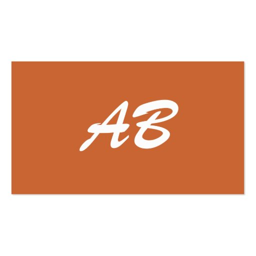Monogram. Your custom initials. Brown White Pack Of Standard Business Cards