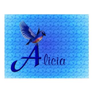 Monogram Your Name Initial A Bluebird Postcard