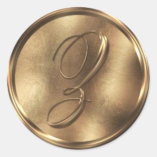 Monogram Z Bronze Round Sticker