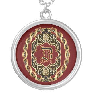 Monogram Z Customize Edit Change Background Color Round Pendant Necklace