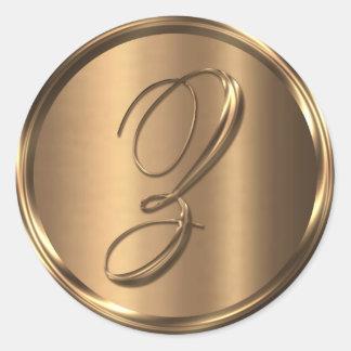 Monogram Z NONMETALLIC Bronze Envelope Seal Round Sticker