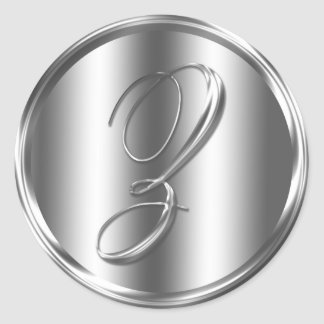 Monogram Z Silver Color Round Sticker