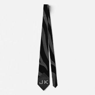 Monogram Zebra Black and Gray Tie