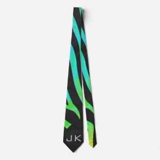 Monogram Zebra Black and Rainbow Print Tie