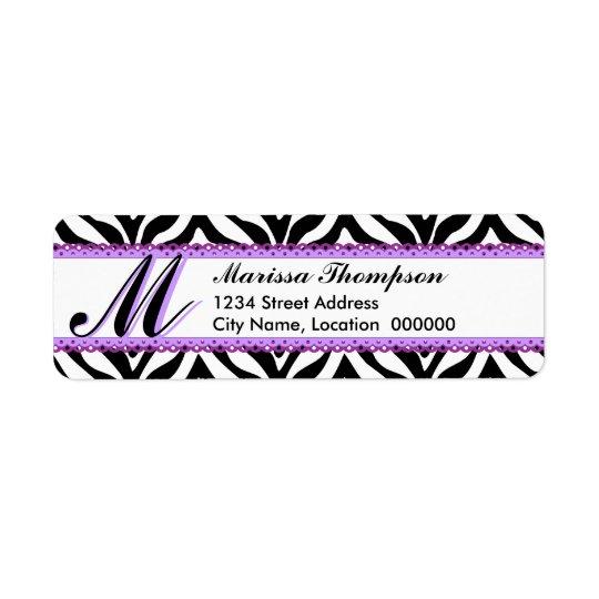Monogram Zebra Print and Purple Lace
