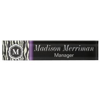 Monogram Zebra Purple Bar Nameplate