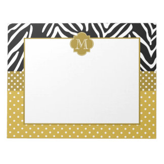 Monogram Zebra with Gold Polka Dot Pattern Notepad