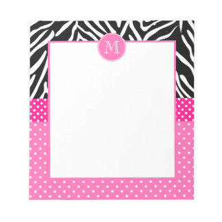 Monogram Zebra with Hot Pink Polka Dot Pattern Notepad