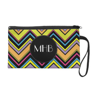 Monogram - Zigzag Pattern, Chevron - Green Blue Wristlet