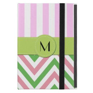 Monogram - Zigzag Pattern, Chevron - Green Pink iPad Mini Case