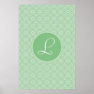 Monograma de arabesco marroquí geometría verde posters