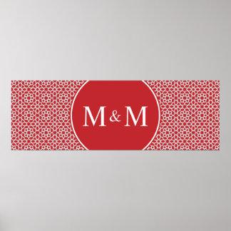 Monograma de arabesco rojo geométrico y elegante poster