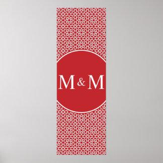 Monograma de arabesco rojo geométrico y elegante impresiones