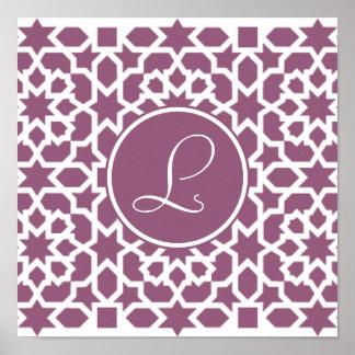 Monograma de geometría en elegante violeta poster