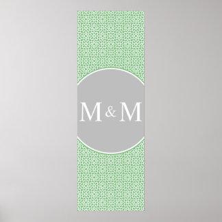 Monograma de geometría marroquí verde y gris impresiones