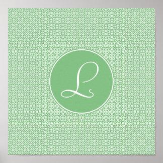 Monograma elegante de arabesco lineal color verde impresiones