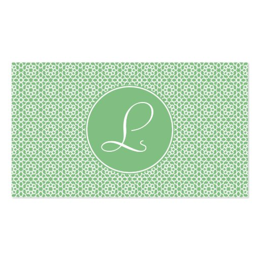 Monograma of arabesque Moroccan green geometry Business Card