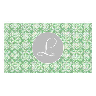 Monograma of green and gray Moroccan geometry Business Card