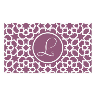 Monograma purple and geometric mosaic of arabesque pack of standard business cards