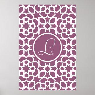 Monograma púrpura y mosaico geométrico de arabesco poster