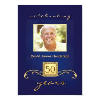 Monogramed 50th Birthday Party Inivitations - Blue Invitations