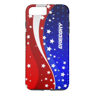 Monogramed Abstract American Flag Design iPhone 7 Plus Case