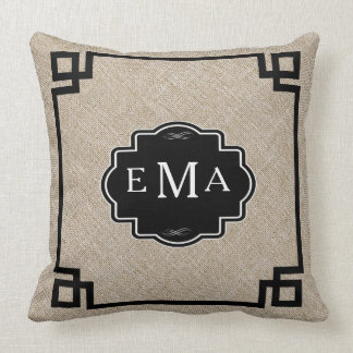 Monogramed Beige Linen With Black Frame Cushion