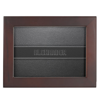 Monogramed Black Leather Look Memory Box