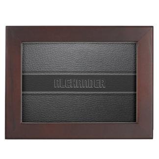 Monogramed Black Leather Look Keepsake Box
