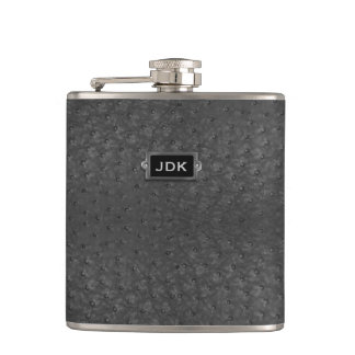 Monogramed Black Ostrich Leather Look Flask