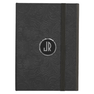 Monogramed Black Suede Leather Floral Design Cover For iPad Air