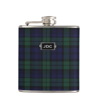 Monogramed Black Watch Tartan Plaid Flask