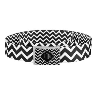 Monogramed Black & White Geometric Zigzag Chevron Belt
