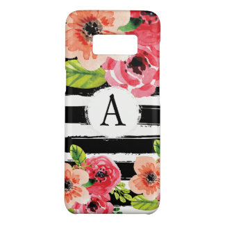 Monogramed Black White Stripes Floral Watercolor Case-Mate Samsung Galaxy S8 Case