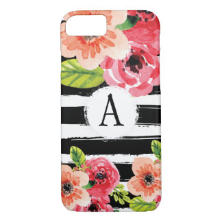 Monogramed Black White Stripes Floral Watercolor iPhone 8/7 Case