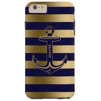 Monogramed Blue & Gold Stripes, Nautical Anchor Tough iPhone 6 Plus Case